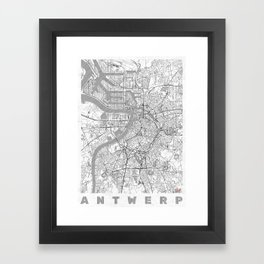Antwerp Map Line Framed Art Print