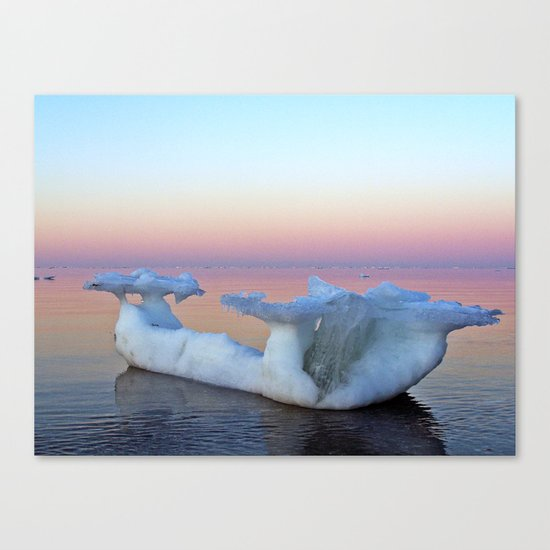Viking Iceship on the Sea Canvas Print