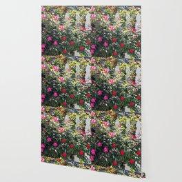 flowers on fence Wallpaper