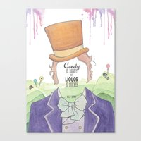willy wonka Canvas Prints featuring Wonka by Mon Chaton