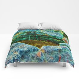 Abstract rocks with barnacles and rock pool Comforters