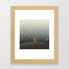 Small winged polka-dotted red cat and stars Framed Art Print