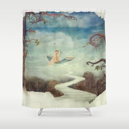 Little girl on the swing in the  fantastic country in sky  Shower Curtain