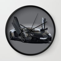 lamborghini Wall Clocks featuring Lamborghini Aventador by Iskanderox