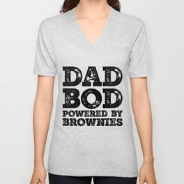 Dad Bod Powered By Brownies Funny Food Lovers Father Figure Gifts Idea Unisex V-Neck