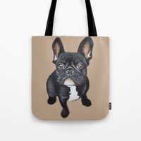 french bulldog Tote Bags featuring French Bulldog by PaperTigress