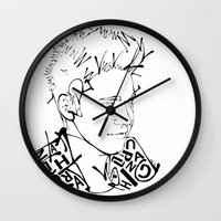 niall Wall Clocks featuring Typographic Niall by Ashley R. Guillory