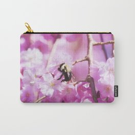 Pink Weeping Willow With Bumble Bee Carry-All Pouch