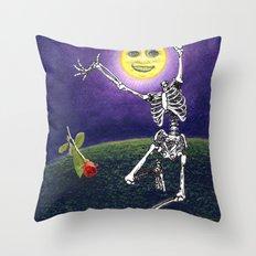 Skeleton Moon Throw Pillow