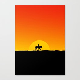 Cowboy riding off into the sunset desert theme Canvas Print