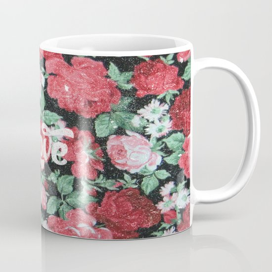 Red Pink Roses Chic Love Vintage Floral Pattern Mug