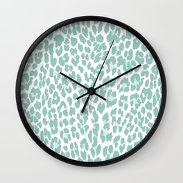 Mint Leopard Print Wall Clock