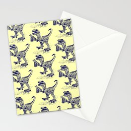 Tipsy Velociraptor with Beer Pattern Stationery Cards
