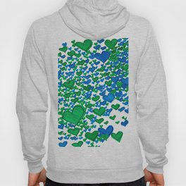Love Collides - Blue & Green Hearts Hoody