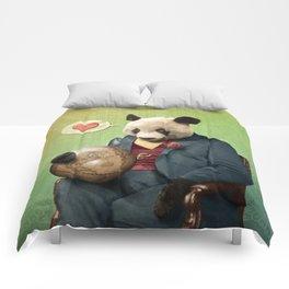 Wise Panda: Love Makes the World Go Around! Comforters