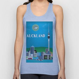 Auckland, New Zealand - Skyline Illustration by Loose Petals Unisex Tank Top