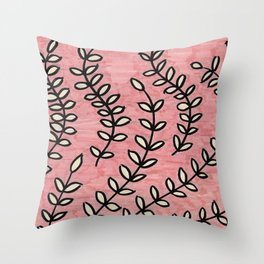 Pink Vines Throw Pillow