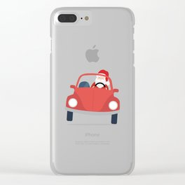 Santa Claus coming to you on his Car Sleigh Clear iPhone Case