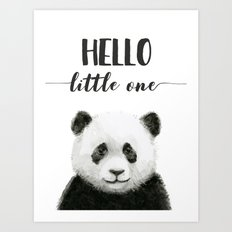 Panda Art Print Baby Animals Hello Little One Nursery Decor Art Print