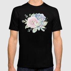 Succulent Blooms Black 2X-LARGE Mens Fitted Tee