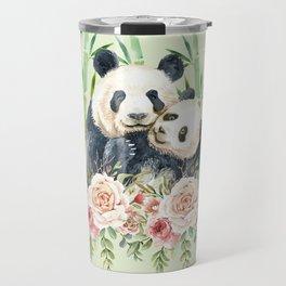 Cute Panda Bears Cuddling Watercolor Travel Mug