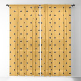 Dotted (Black & Classic Orange Pattern) Sheer Curtain