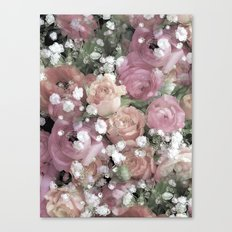 vintage pastel flowers Canvas Print