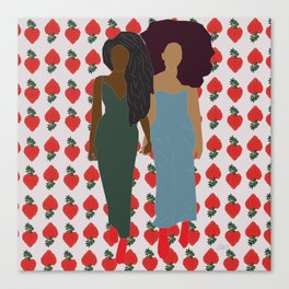 Strawberry Bawse Babes- Purple Canvas Print