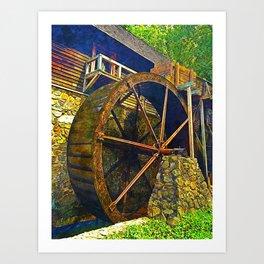 Gristmill Water Wheel Art Print