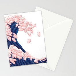 Pink Pigs Waves in White Stationery Cards