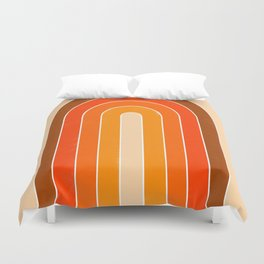 orange retro u stripes Duvet Cover