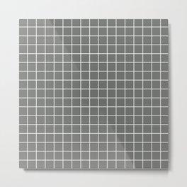 Nickel - grey color - White Lines Grid Pattern Metal Print