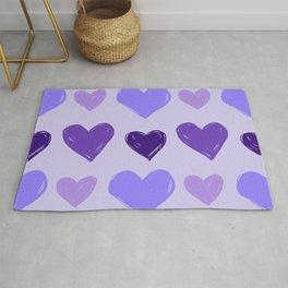 Purple Woodblock-Style Hearts Pattern Rug