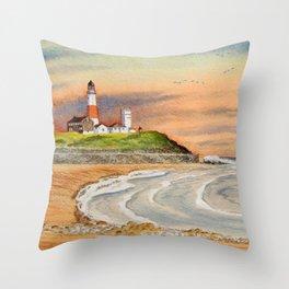 Montauk Point Lighthouse East Hampton New York Throw Pillow