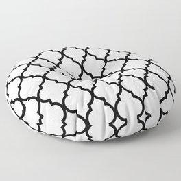 Classic Quatrefoil Lattice Pattern 321 Black and White Floor Pillow
