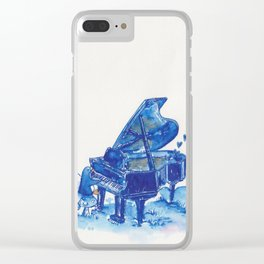Blue Penguin Playing Blue Grand Piano Clear iPhone Case