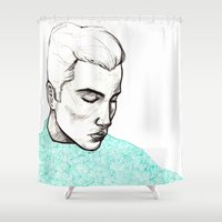 boy Shower Curtains featuring Boy by Anna Posey