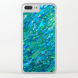 Shades Of Blue Waterfall Clear iPhone Case
