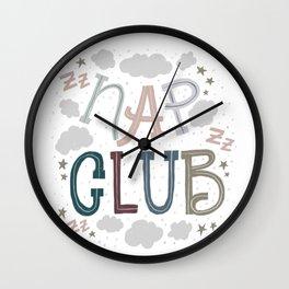 Cozy Nap Club lettering Wall Clock