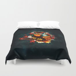 FLOWERS AND OWL Duvet Cover