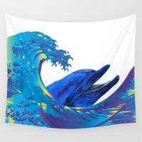 hokusai Wall Tapestries featuring Hokusai Rainbow & Dolphin by FACTORIE