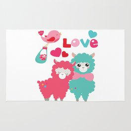 Llama and Llama in Love Rug
