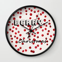 Happy berry christmas II Wall Clock