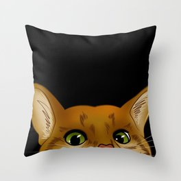 Peaking Cat Throw Pillow