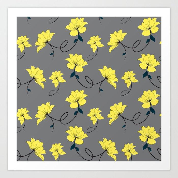 Yellow flowers on graygrey background floral pattern art print by zeldashafferdesigns yellow flowers on graygrey background floral pattern art print mightylinksfo