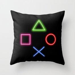 Neon Buttons Throw Pillow