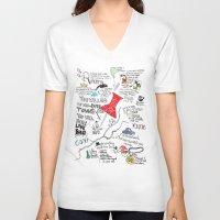 john green V-neck T-shirts featuring Paper towns, John Green by Natasha Ramon