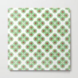 Floral Collage Check Pattern Metal Print