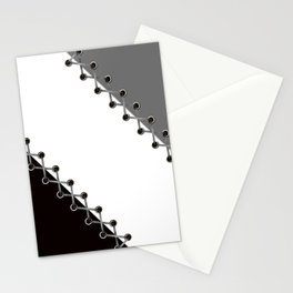 Lacing . Black , white and grey . Stationery Cards