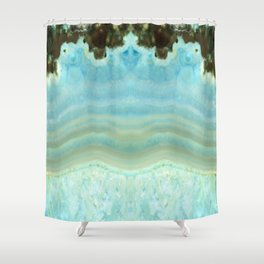 Turquoise Aquamarine Blue Gem Stone Agate Crystal Shower Curtain